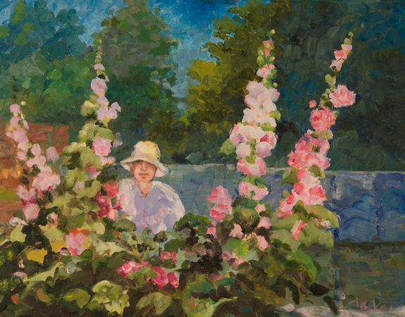 RUTH WITH HOLLYHOCKS